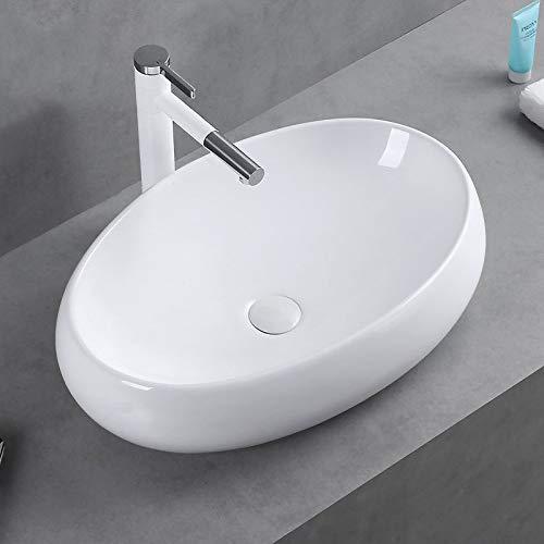 Trintion Waschbecken Aufsatzwaschbecken Waschschale Keramik Oval Aufsatz-Waschschale Badezimmer Gäste WC Waschtisch Klein 48cm X 34cm X 14,5cm Weiß