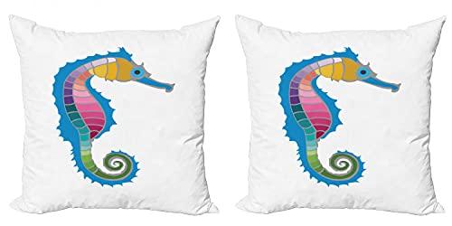ABAKUHAUS Caballo de mar Set de 2 Fundas para Cojín, Forma Gráfico Colorido, con Estampado en Ambos Lados con Cremallera, 60 cm x 60 cm, Multicolor