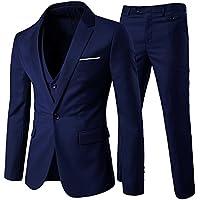 Cloudstyle Traje Suit Hombre 3 Piezas Chaqueta Chaleco pantalon Traje al Estilo Occidental, Azul, S