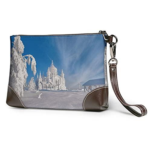 MGBWAPS Snowy Ice Castle Embrague, bolso de embrague de cuero, bolso de cosméticos, bolso de embrague
