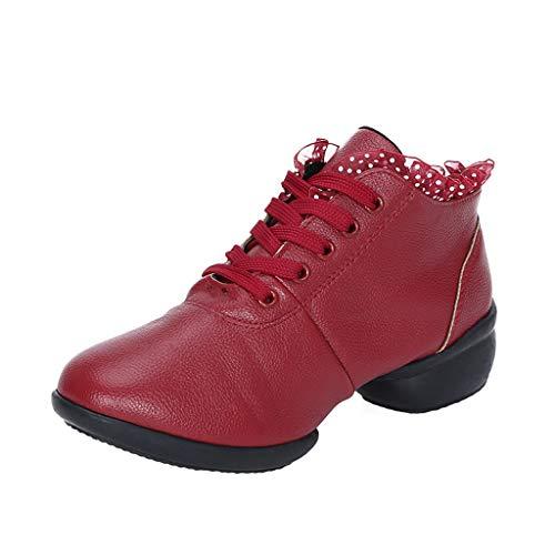 H.eternal(TM) Zapatos de baile para primavera y otoño, cómodos, transpirables, antideslizantes, botines laterales, correas traseras y puntera abierta, color Rojo, talla 40.5 EU
