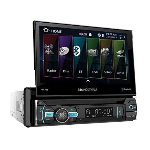 Soundstream VR-75B Single DIN Bluetooth in-Dash DVD/CD/AM/FM Car Stereo Receiver with 7' Foldout Touchscreen