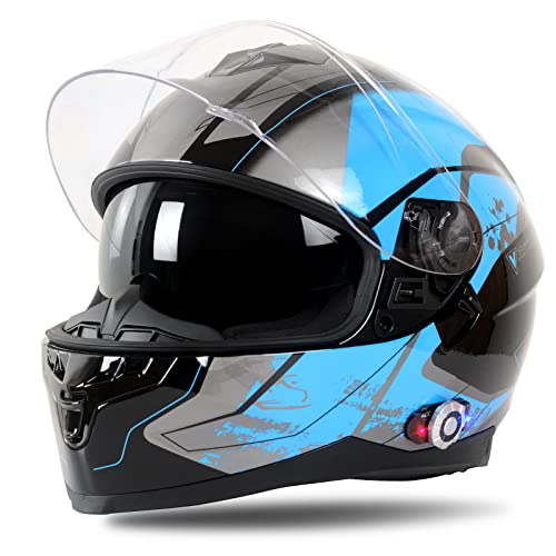 FreedConn Full Face Motorcycle Helmet with Bluetooth Universal Pairing with up to 2 Mobile Phones,...