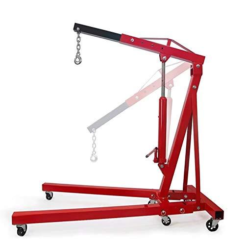 Engine Hoist 2 TON Single Pump Folding Hydraulic Engine Motor Hoist Cherry Picker Shop Press Hoist Lift Red Shop Crane 4000 lb