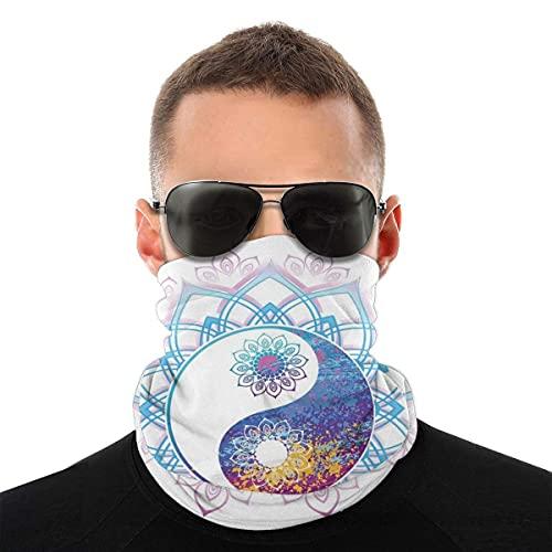 asdew987 Cubierta facial, polaina de cuello, símbolo de Yin Yang Mandala Hippie diseño asiático con imagen de marco de remolino floral, bandana, sombreros