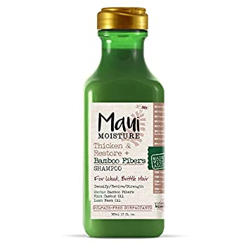 Maui Moisture Thicken & Restore + Bamboo Fibers Strengthening Shampoo to Soften Transitioning or Natural Hair & Renew Brittle Hair Vegan Silicone & Paraben-Free 13 fl oz