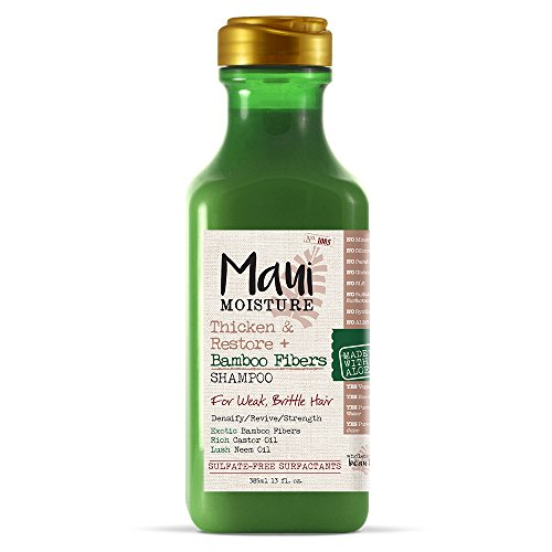Maui Moisture Thicken & Restore + Bamboo Fibers Strengthening Shampoo to Soften Transitioning or Natural Hair & Renew Brittle Hair, Vegan, Silicone- & Paraben-Free, 13 fl oz, Coconut