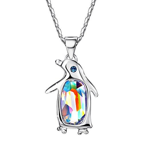 NEOGLORY Jewelry Aurora Borealis Crystal Penguin Birthstone Pendant Necklace Women Jewelry