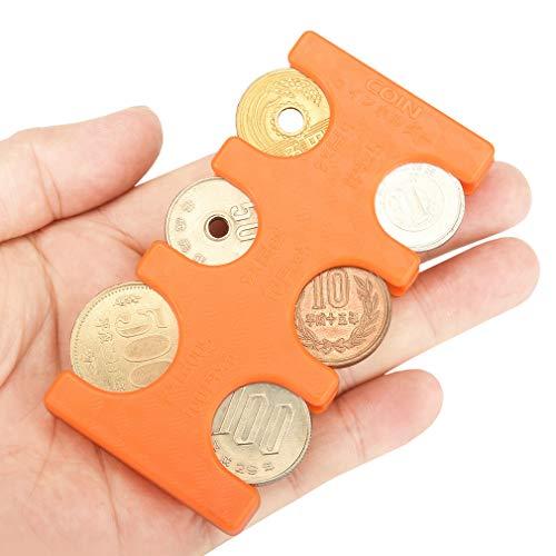 ANZOBEN コインホルダー 携帯 硬貨収納 小銭財布 軽量 コンパクト 片手で取り出せ オレンジ