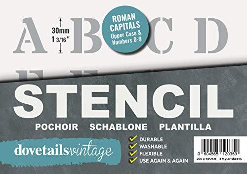 Lettrage Pochoir Grands Chiffres et Lettres de L'Alphabet 3cm ROMAIN Majuscules sur 3 feuilles de 20 x 14.8cm