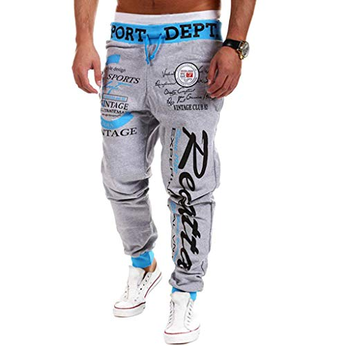 Cottory Men's Hiphop Dance Jogger Sweatpants Trousers Blue Grey Large