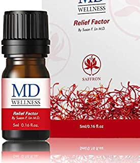 MD Wellness Relief Factor Pain Relief Essential Oil - Saffron Extract Essential Oil for Headache, Muscle and Joint Stiffness, Swelling & Muscle Cramps - Natural Therapeutic Pain & Soreness Blend