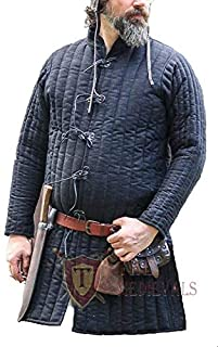 The Medieval Shop Thick Padded Full Length Gambeson Coat Aketon Jacket Armor - Navy Blue Costumes Dress SCA