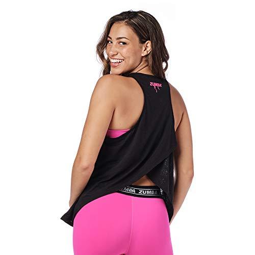 Zumba Fitness Damen Tanktops Women's Sexy Open Back Breathable Workout Tank Top, Bold Black C, XXL