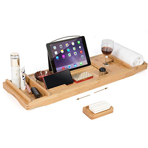 HYNAWIN Bandeja de bambú para Tina con Lados Extensibles para Copas de Vino, Estante de Lectura, Soporte para Tableta, teléfono móvil