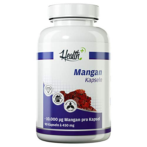 HEALTH+ Mangan - 90 Kapseln, 10 mg Mangangluconat pro Kapsel, Nahrungsergänzungsmittel Made in Germany