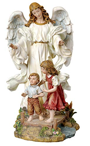 Joseph's Studio by Roman - Guardian Angel with Children on Bridge Figure, Renaissance Collection, 10' H, Resin and Stone, Religious Gift, Decoration