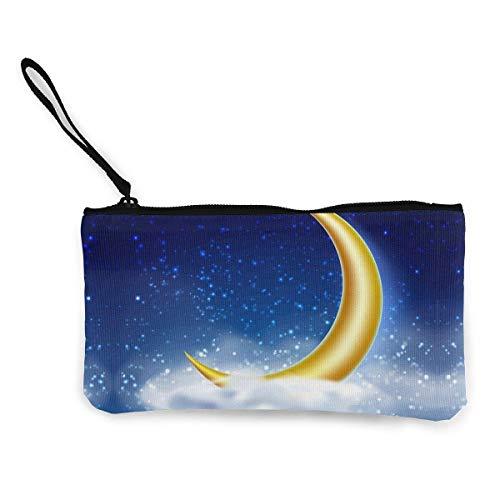 Magischer Nachthimmel mit goldenem Mond Leinwand Münzbeutel Tasche Reißverschluss Kleine...