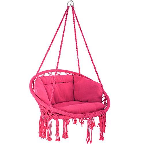 TecTake 800708 Hängesessel zum Aufhängen, Indoor und Outdoor, Ø Sitzfläche: ca. 60 cm, robuste Konstruktion, inkl. großem weichem Kissen - Diverse Farben - (Pink | Nr. 403340)