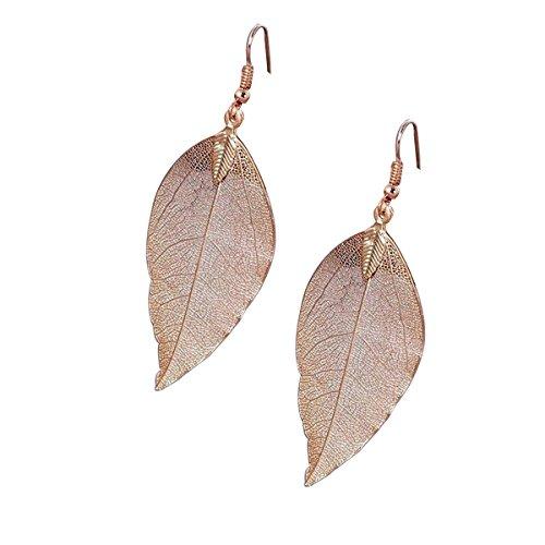 bestoyard hojas pendientes, hojas de moda forma pendientes creativos joyas regalo para San Valentín Cumpleaños (Golden)