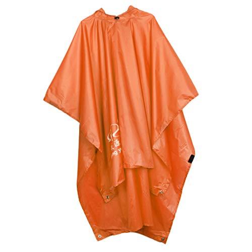 Baoblaze Imperméable Multifonction Tente de Couverture de Poncho Randonnée - Orange, 220 × 150cm