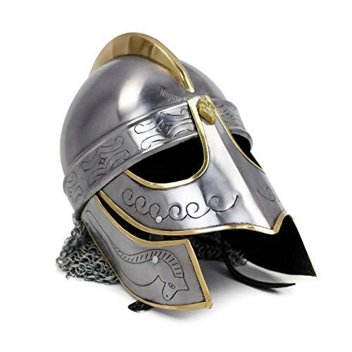 Medival Viking Helmet | Helmet with chinmail | Battle Ready Armour Helmet Grey