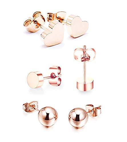 baobei kvinnors örhängen smycken set 3 par 14k rosa guldpläterad rostfritt stål bönboll hjärta stiftörhängen för kvinnor män flickor pojke nickel gratis med smyckeskrin