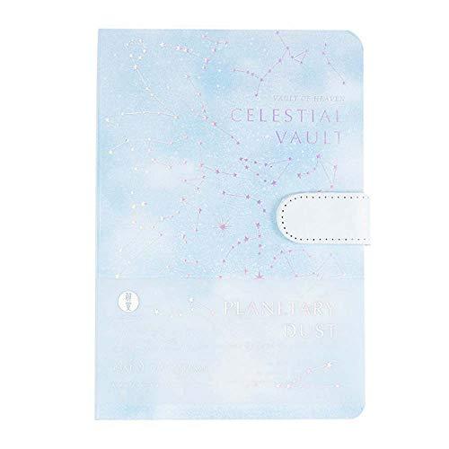ZJWD Cahier de Cadeau de Boucle magnétique, Livre de Compte de Main d'écriture de Couverture de poussière de planète, Livre de disques Multifonctionnel de Page intérieure d'estampage à Chaud d'étoil