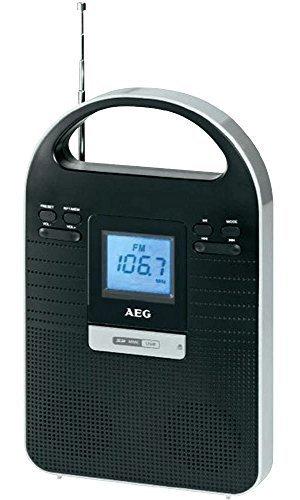 Tragbares Multimedia Radio Stereoradio (LCD, SD-Kartenslot, AUX-IN, 50 Watt PMPO, USB) mit Akku AEG MMR 4128 Schwarz / Silber