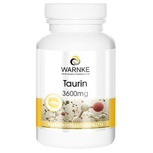 Taurina en cápsulas – 3600mg por dosis diaria – Polvo encapsulado – 120...