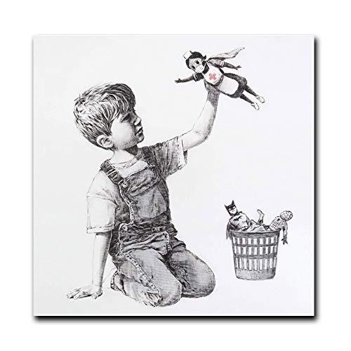 HYY-YY Cambiador de Juego Banksy Art Muestra médicos Enfermeras Pinturas en Lienzo Cuadro de Arte de Pared Cuadros en Carteles de Oficina de Hospital Decoración27.5x27.5 (70x70cm) Sin Marco