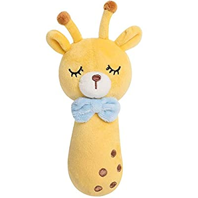 TILLYOU Soft Baby Rattle for Newborns, Plush Stuffed Animals, Rattle Shaker for Infants, Shower Gifts for Girls Boys, Shaker & Teether Toys for 3 6 9 12 Months (Squeeze to Sound, Giraffe)