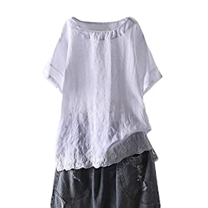 Women's Linen Embroidered Shirt Blouse Short Sleeve T-Shirt Tops Tuni...