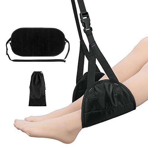 Tragbare Fußstütze Faltbare Fuß Hängematte Fußhängematte mit Verstellbaren Trägern Ideal für Büroreisen Zug Langstreckenflüge zur Entspannung und Verhindert Schwellungen Schwarz