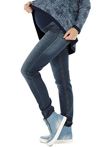 NITIS Schwangerschaftshose Maternity Jeans Zuza Umstandshose Damen Hose Straight, Denim Blue, XL (Herstellergröße: 42/36L)