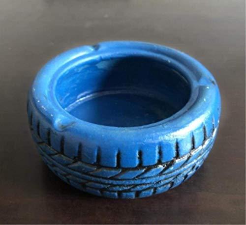 Suytan Cenicero Cenicero Creativo Cenicero Habitación Cemento Neumático Cenicero Restaurante Bar Artículos de Decoración de Estilo Industrial, Negro,Azul