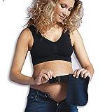 Carriwell Flexigürtel aus Bio-Baumwolle, elastische Bunderweiterung für Schwangere, verwandelt Normale Hosen in Umstandsmode, 3 Stoffeinsätze in Schwarz, Creme & Navy-Blau