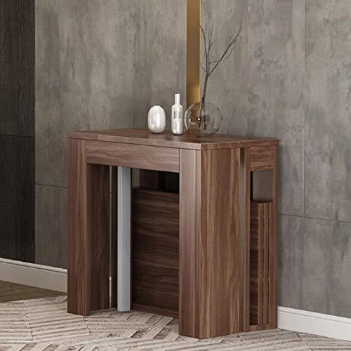 Decoración de muebles CuteLife Cocina Mesa de comedor Mesa de comedor plegable nórdica con sillas Mesa plegable Mesa multifunción extensible Mesa rectangular extensible (Color: Wulnut Tamaño: 184X8