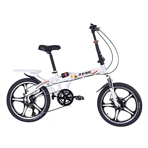 LODDD Adult Folding Bike - 20 Inch 7-Speed Shift/Single Speed Adult Travel Folding Bicycle,Carrying Bracket and Thick Nylon Storage Bag (White, 7-Speed Shift/Single Speed)