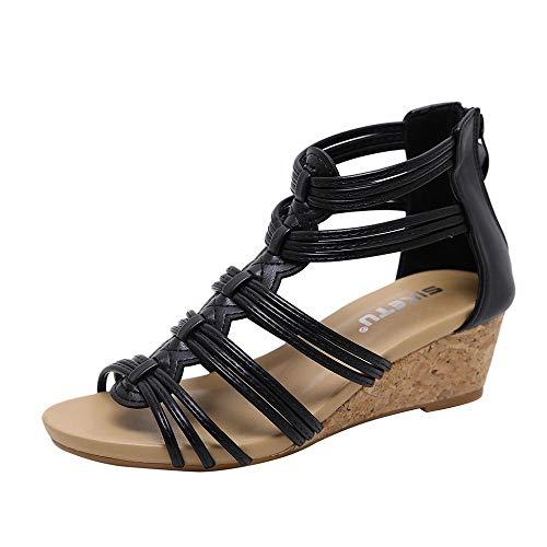 VJGOAL Tejer Huecos Sandalias Romanas Abrir Dedo del pie Cremallera Cuñas Sandalias de Verano Bohemia Casual Zapatos de Playa para Mujeres(38 EU,Negro)