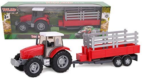 Toyland 22.5cm Farm Tractor & Tanker / Trailer Set - Free Wheel Action - Boys Farm Toys (Red Trailer)