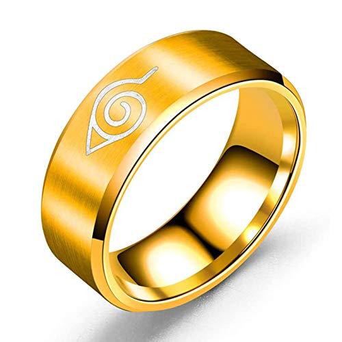 QLGRXWL Anillo periférico de Naruto de anime de acero inoxidable, joyería de titanio y acero para hombre, oro