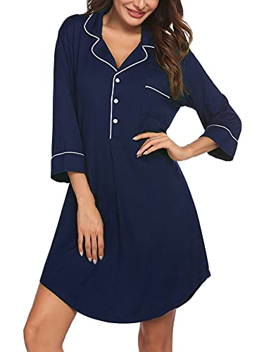 Ekouaer Boyfriend Style Sexy Cotton Nightgown Sleep Shirt For Women,Navy Blue(3/4 Sleeve),XX-Large