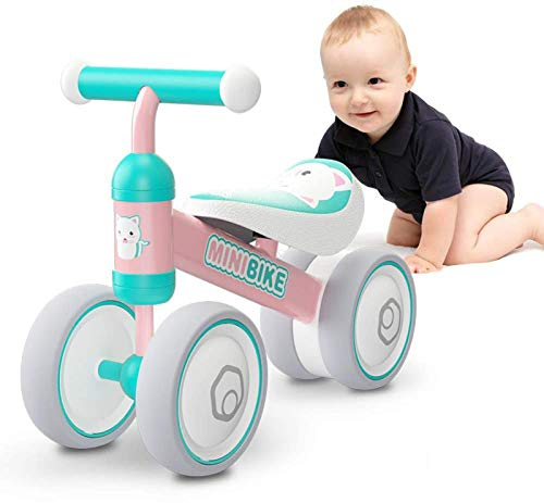 Baby Balance Bike Toddler Tricycle Bike No Pedals 10-24 Months Ride-on Toys Gifts Indoor Outdoor for One Year Old Boys Girls First Birthday Thanksgiving Christmas (Pink Cat)