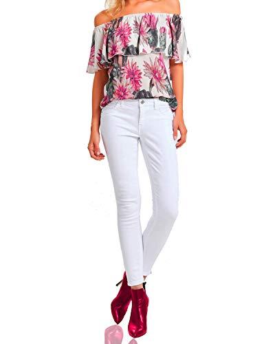 Rock Amour Weiße Damen Jeans-Hose Arbeitshose sexy Reißverschluß-Pant, Farbe:Weiß, Weite/Länge:28/32
