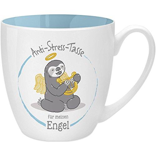 Gruss & Co 45515 Anti-Stress Tasse für meinen Engel, 45 cl, Geschenk, New Bone China, Blau, 9.5 cm