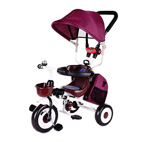 Kids eerste fiets, baby Push Trike, kinderwagen, met zonnekap, One-Click vouwen, in hoogte verstelbare handgreep, Opvouwbare pedalen, Safety Vangrail, oranje, C ZHANGKANG (Color : Red, Size : B)