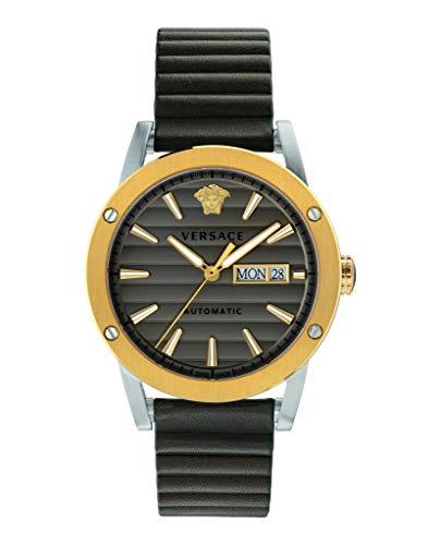 Versace Mannen automatisch horloge Theros staal & IP vergulde lederen band Zwitsers gemaakt VEDX00219