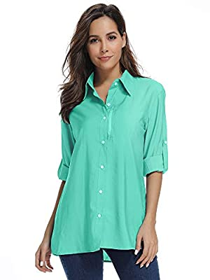 Womens Long Sleeve Sun Protection Hiking Shirts,UPF 50 Quick Dry Safari Light Cooling Blouse (5019 Green 3XL)