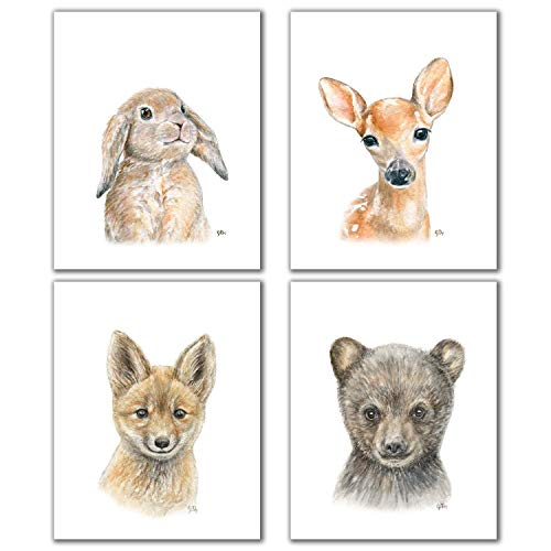 Woodland Baby Animal Portrait Nursery Prints Set of 4 Unframed, Pick Your Animals and Size, Original Watercolor Painting Art Signed By Artist